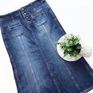 Gap Modest Long Denim Jean Skirt No Slit Stretch